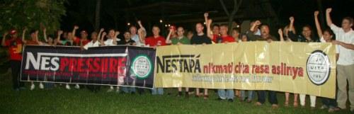 Manifestation à Bali contre la Nespression