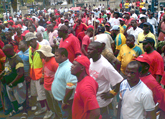 FAWU workers on strike.