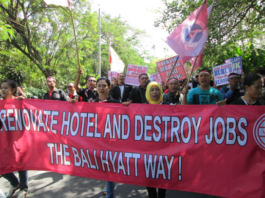 bali hotel working conditions protest